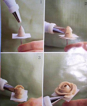 Как сделать розочки из белкового крема фото