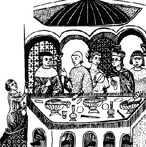 Рыбная трапеза 12-го века. Мужчина в центре держит нож и хлебный тренчер. У пажа в руке кубок, из которого по очереди пили все участники трапезы
