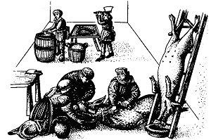 Забой и разделка свиньи для засолки свинины на зиму