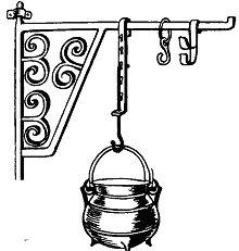 Железная подставка с крючком, на которую вешали ковш