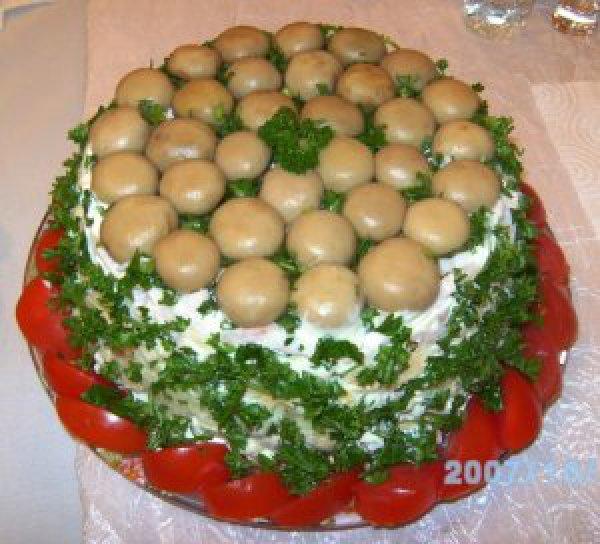 Салат полянка рецепт с курицей и грибами слоями пошаговый рецепт