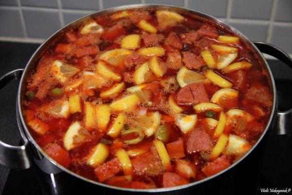 суп солянка рецепт с колбасой и маслинами