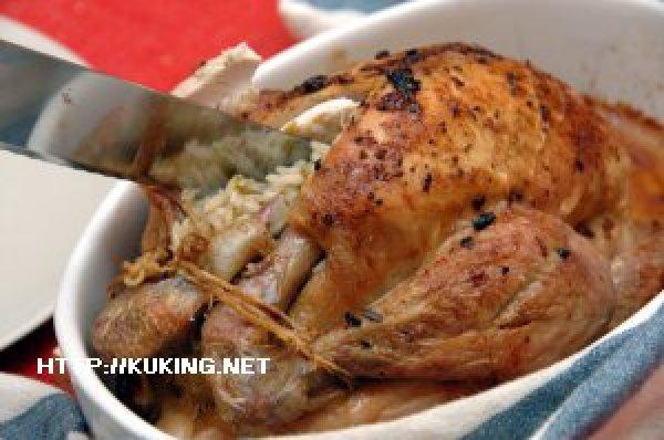 Фаршированная курица с рисом